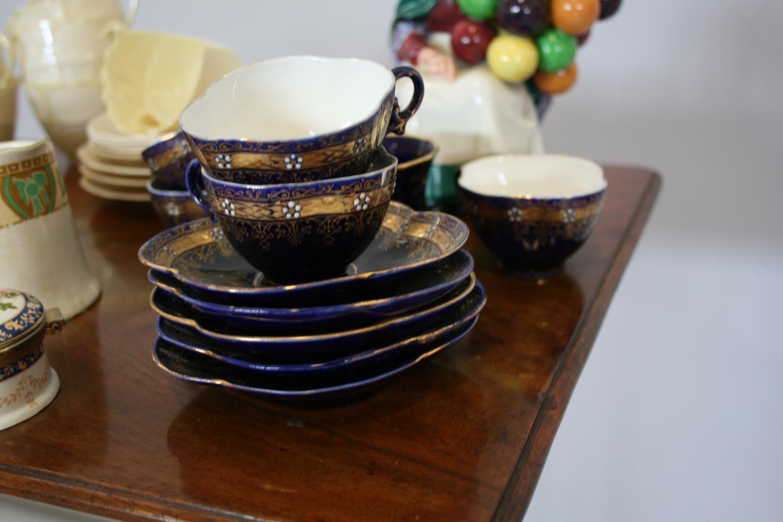 Part Belleek tea set, 2 other part tea sets, Royal Doulton balloon seller. - Image 4 of 4