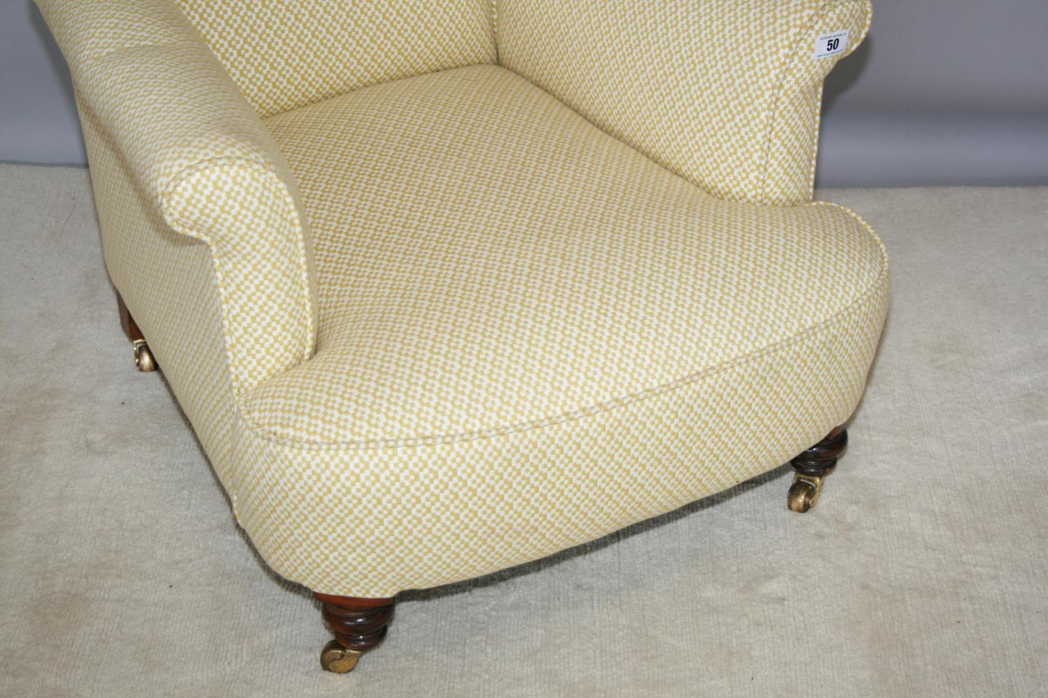 Edwardian upholstered occasional armchair on brass casters 75 W x 80 H x 90 D - Image 2 of 3