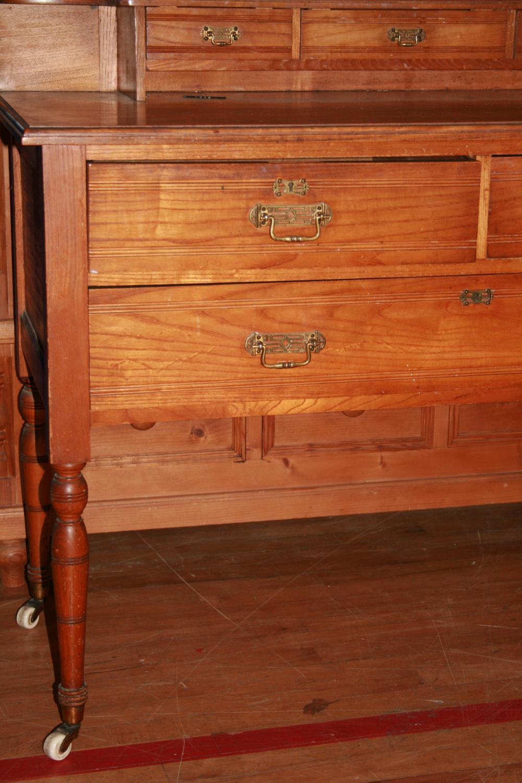 Edwardian oak dressing table with original brass handles standing on ceramic castors. 104 x 162H x - Image 2 of 3