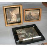 Three Edwardian prints, two in gilt frames with black glass mounts. 70W x 59H