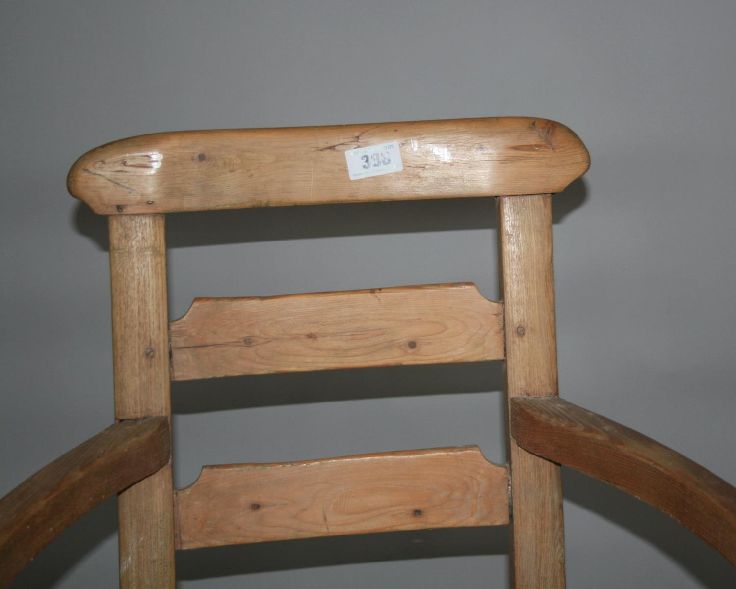 Quirky 19th Century pine wide arm chair. 56W x 90H x 55D - Image 2 of 3