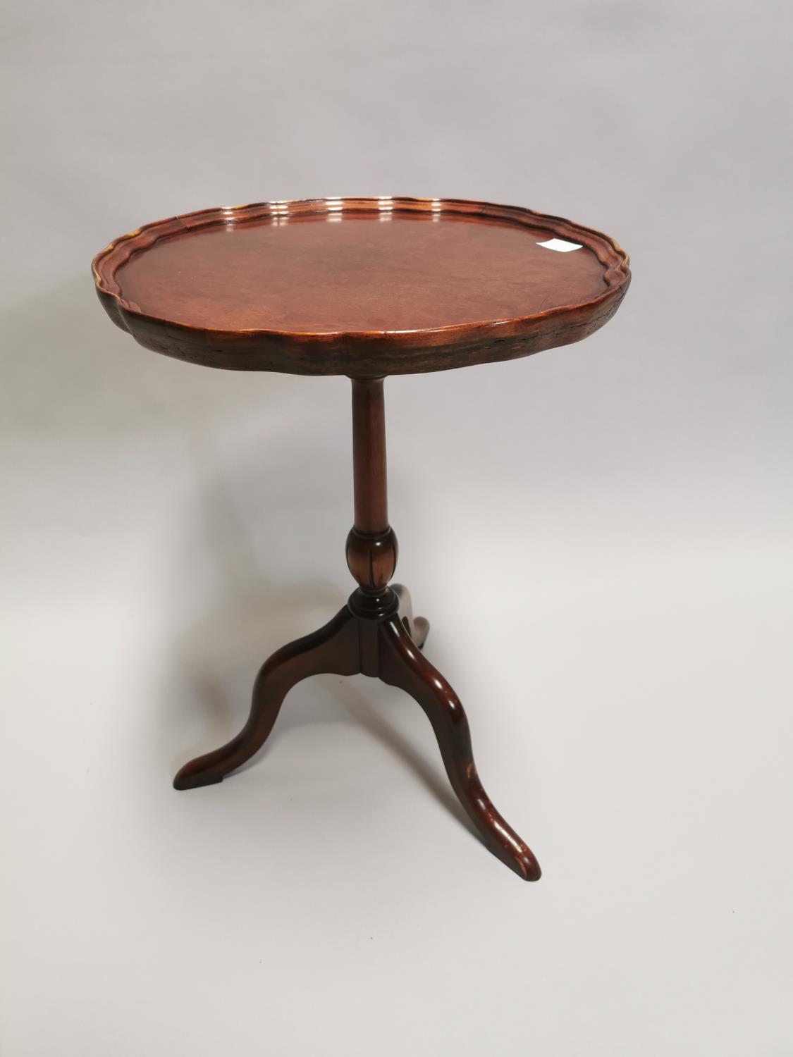 Edwardian walnut wine table on turned column and three outswept legs 53 cm H x 39 cm Dia.