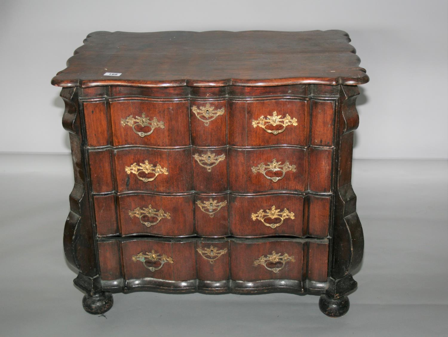 18th Century Continental chest of drawers with four long drawers. 88W x 80H x 55D