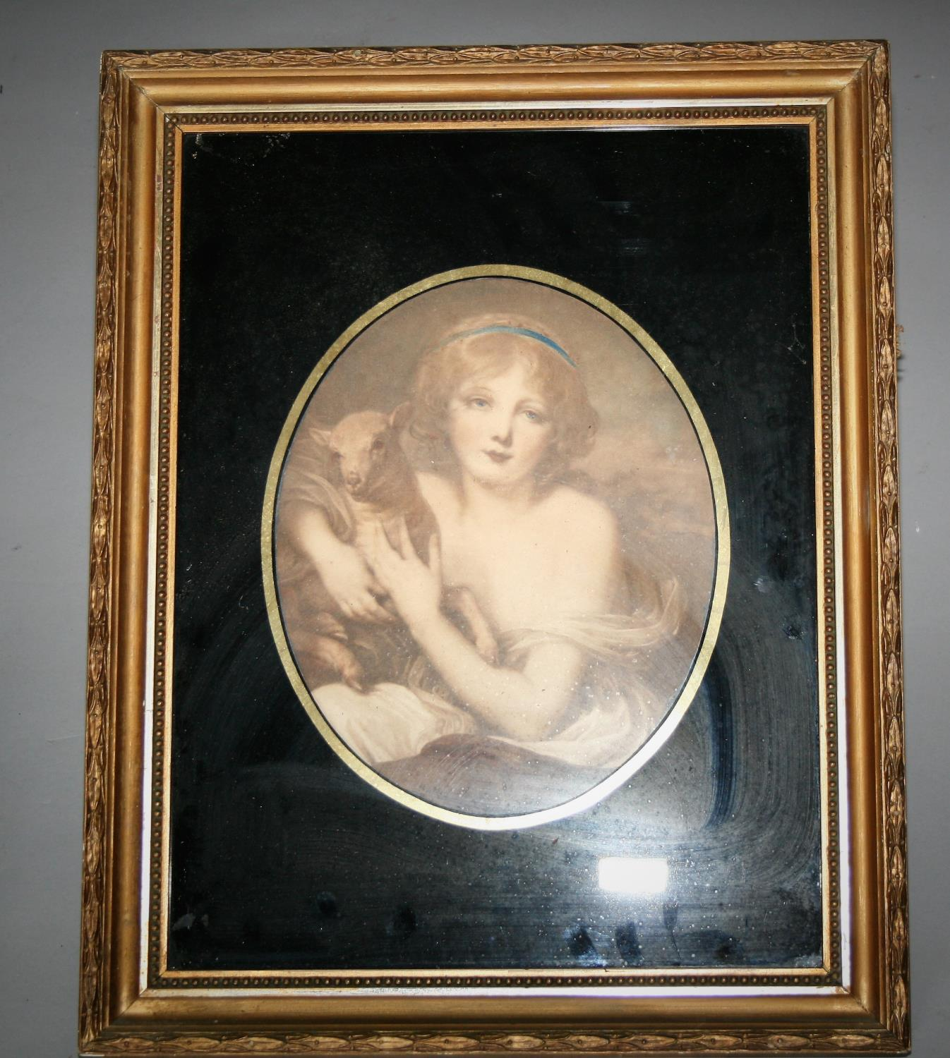 Pair of Edwardian gilt framed prints mounted in black glass. 40W x 50H - Image 3 of 3