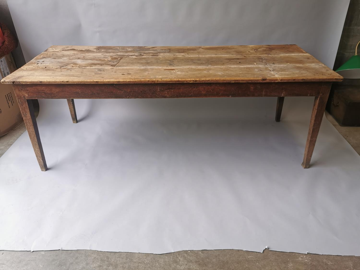 19th C. pine and oak kitchen table on square tapered legs 70 cm H x 198 cm L x 79 cm D