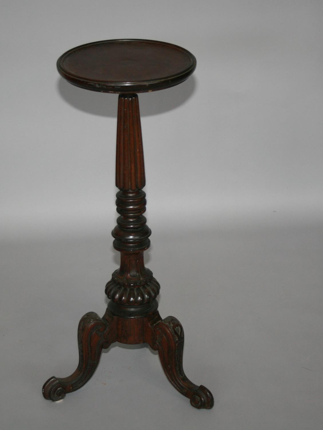 19th Century mahogany torchiere with circular top on tapering support 40 W x 84 H