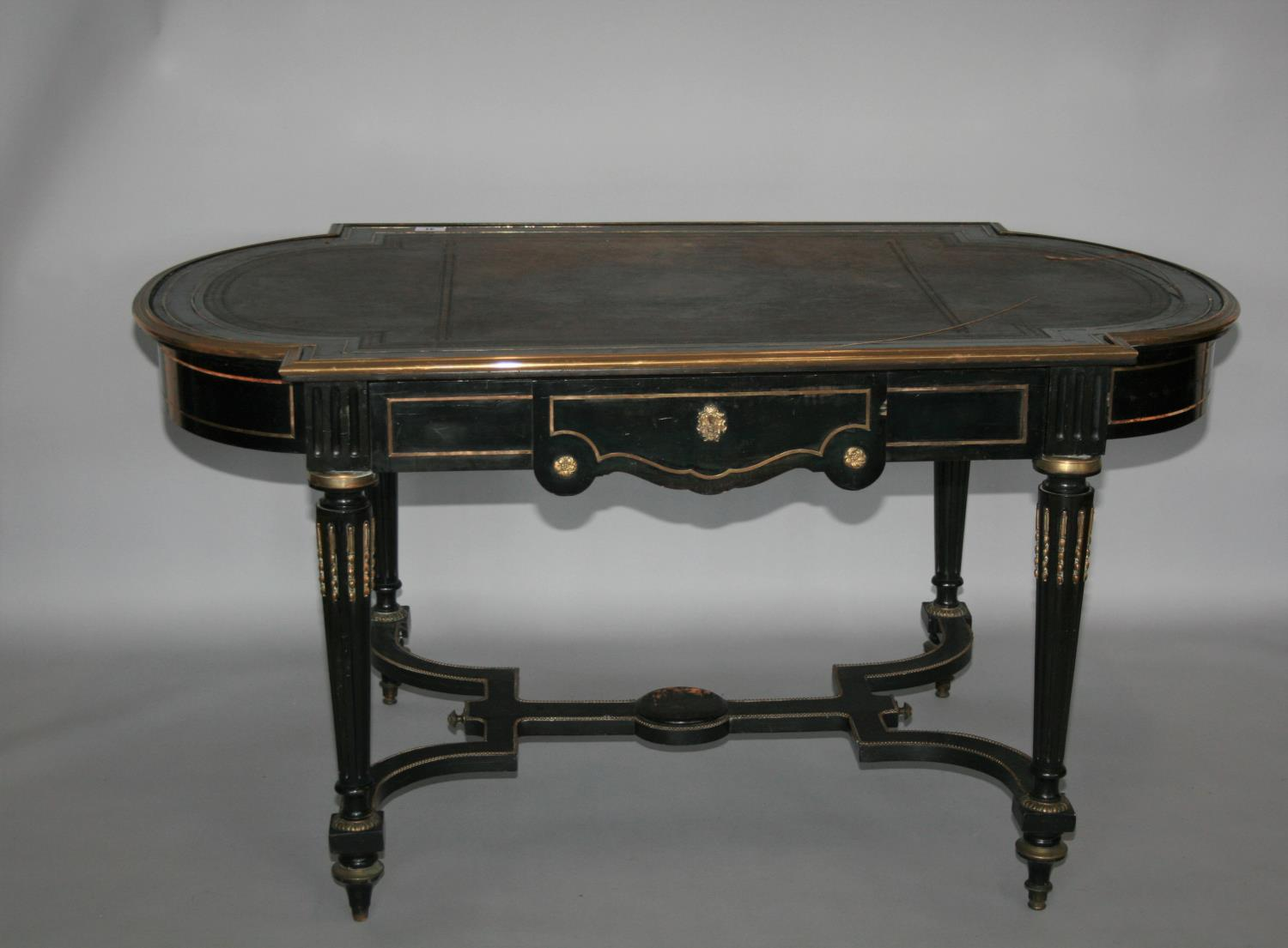 19th Century ebonised and brass mounted centre table with frieze drawer as found 152 W x 76 H x 90