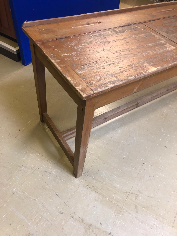 Fine Vintage lift top double desk 214W 60 H 80 D - Image 3 of 4
