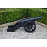 Cast iron cannon on carriage 140W 55H 60D