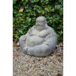 Stone model of a seated Buddha 45W 48H