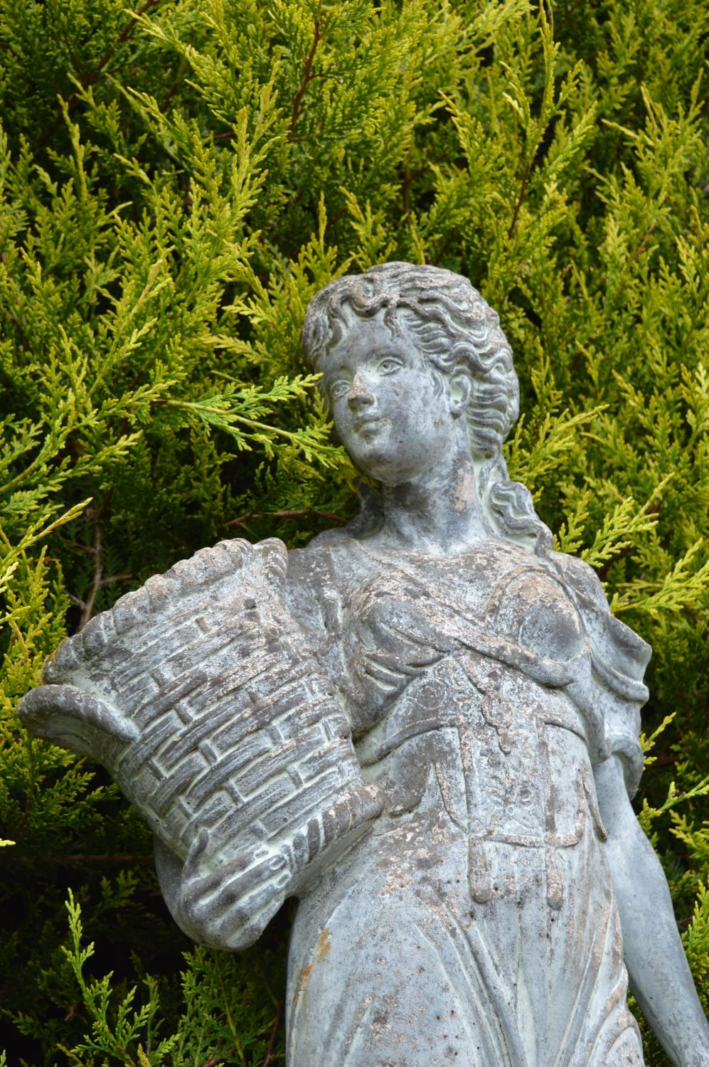 Stone life-size figure of a young girl with a basket of flowers 40W 140H - Image 2 of 3