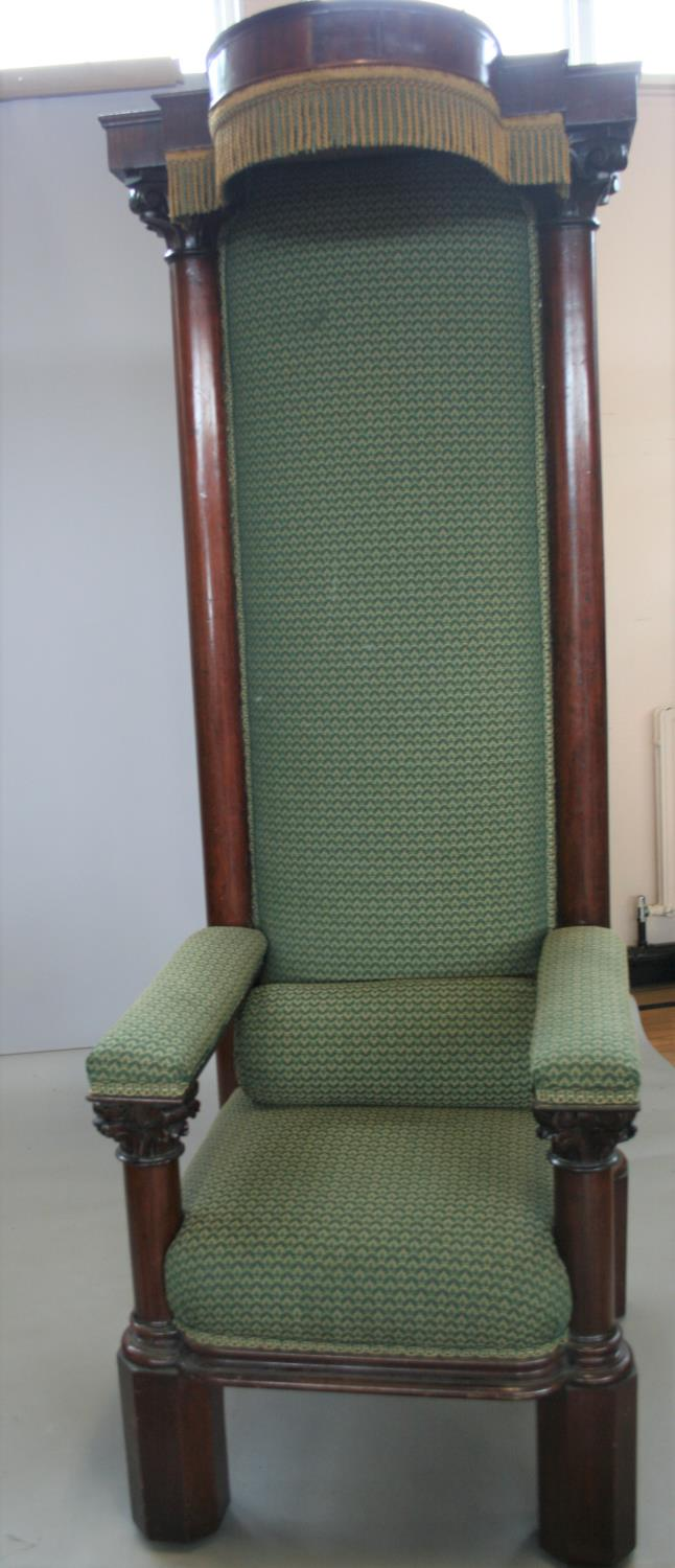 Exceptionally rare mahogany Irish throne chair, stamped Strahan of Dublin. 90W x 230H x 78D