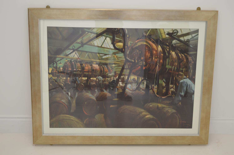 Large framed print working whiskey distillery scene in original print. 125W 95H