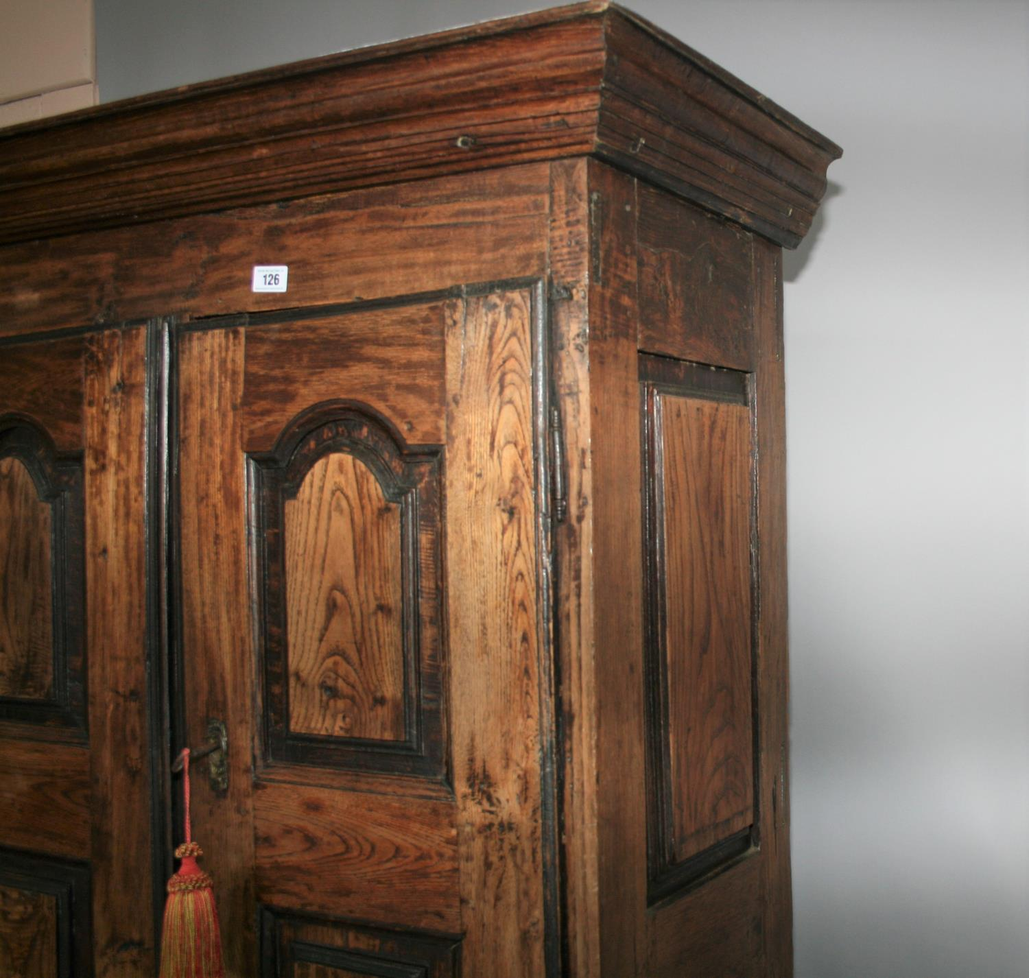 17th Century oak armoire with panel door and sides. 120W x 180H x 52D - Image 2 of 5