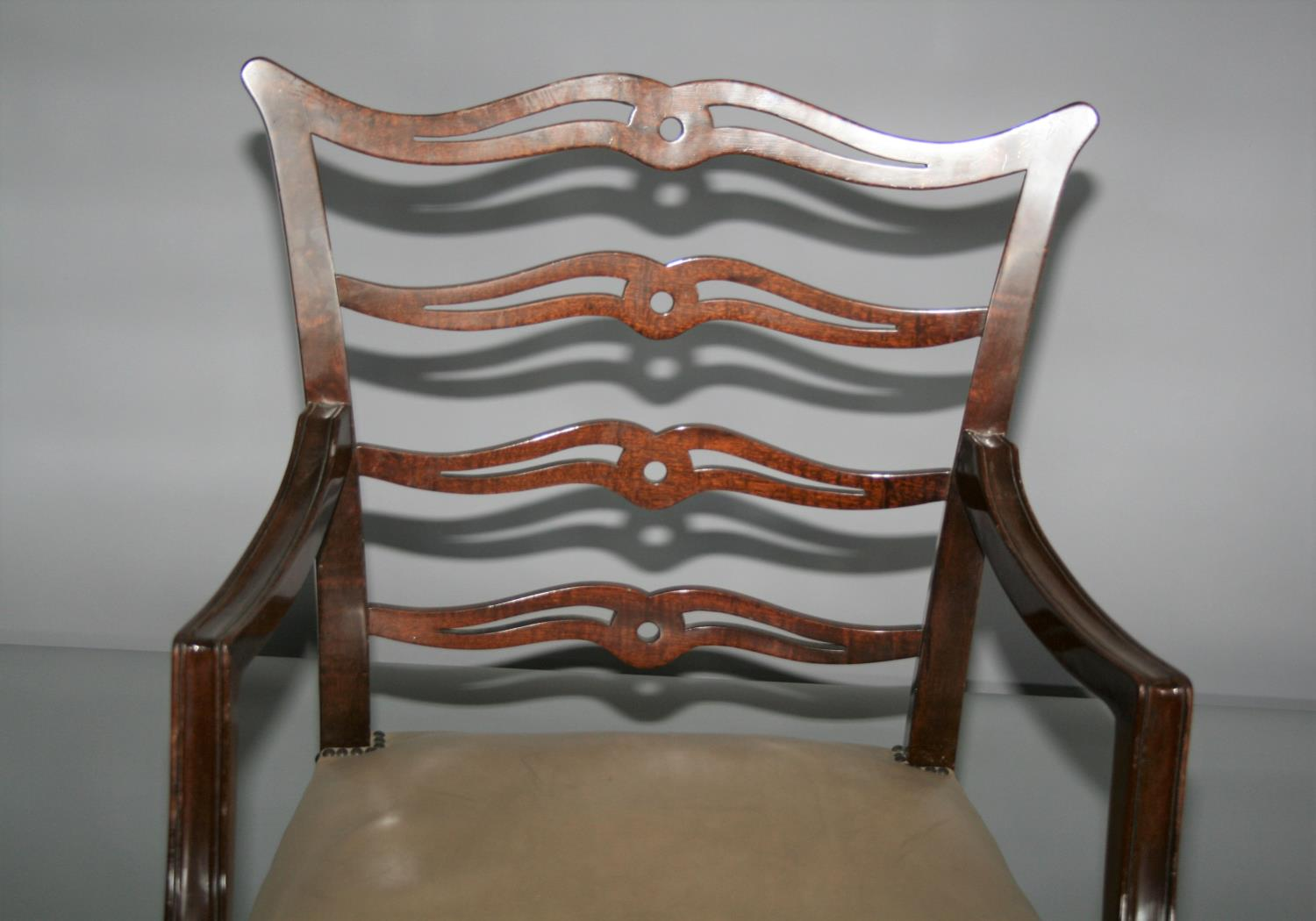 Set of three Hepplewhite design dining chairs and writing table with two drawers 120W x 75H x 67D. - Image 2 of 5