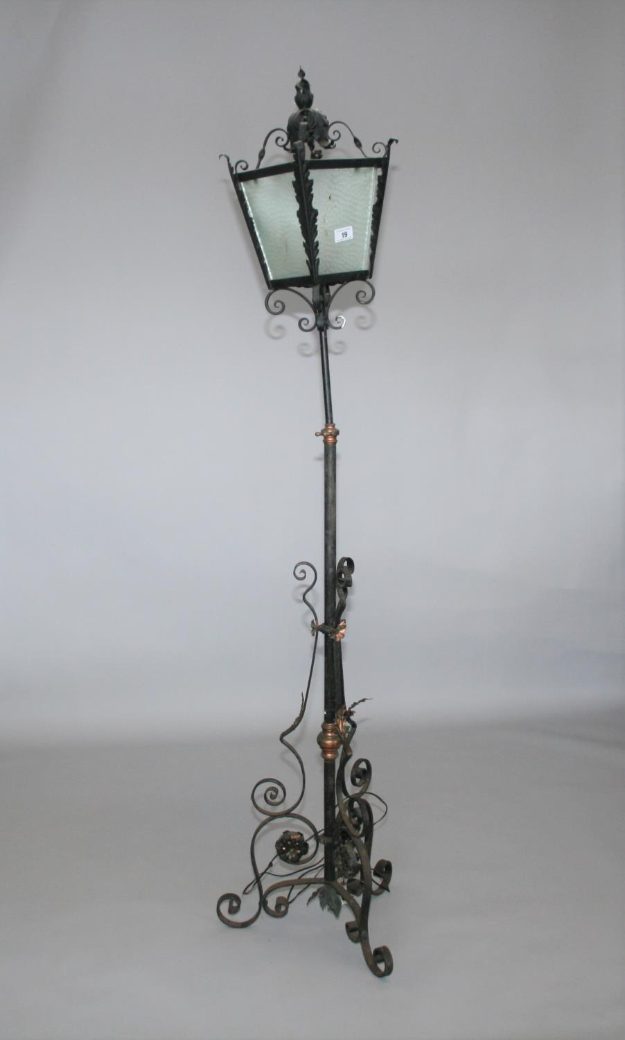 Wrought iron and copper telescopic lamp with lantern top 40 W x 90 H