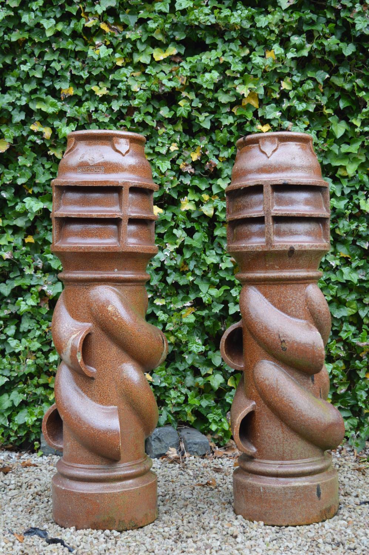 Pair terracotta chimney pots stamped Spiralvent. 36W 122H