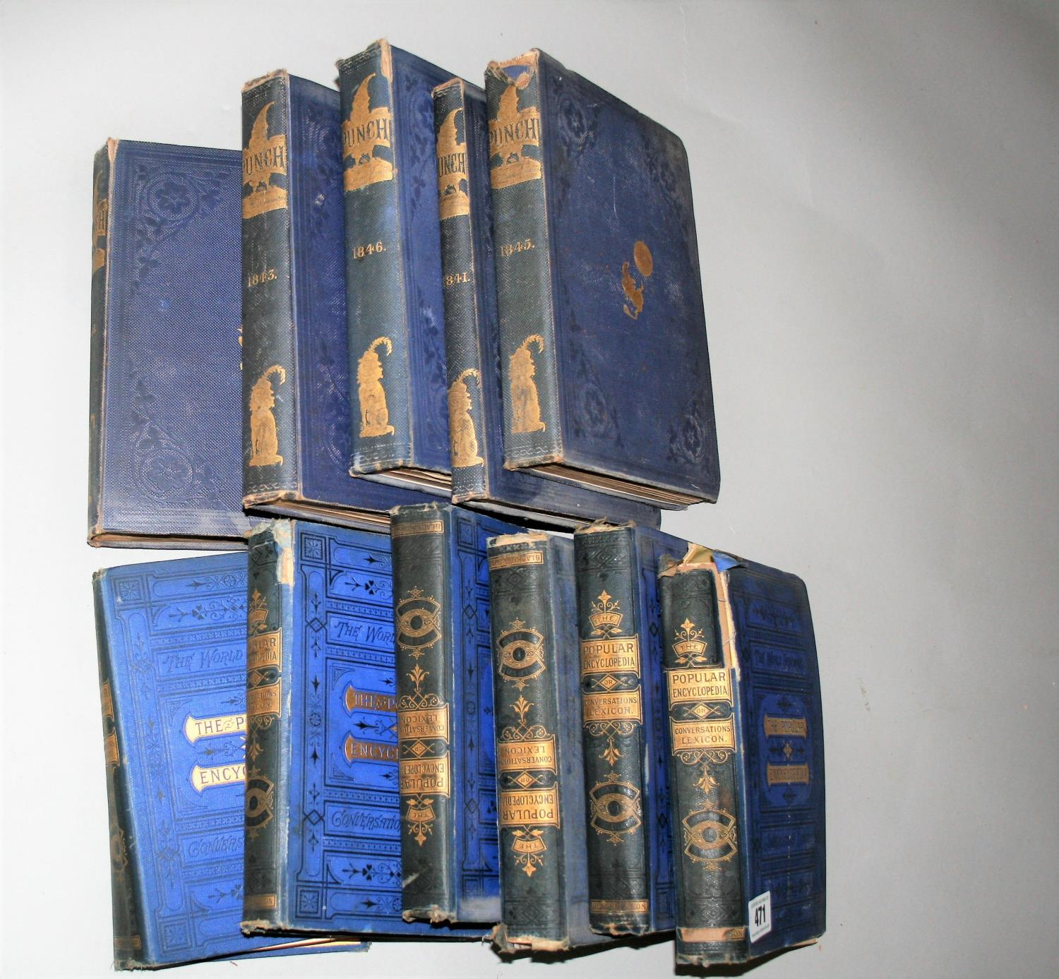 """Six volumes of """"The Popular Encyclopaedia"""" and five books """"Punch"""" 1841, 1842, 1843, 1845, 1846."""