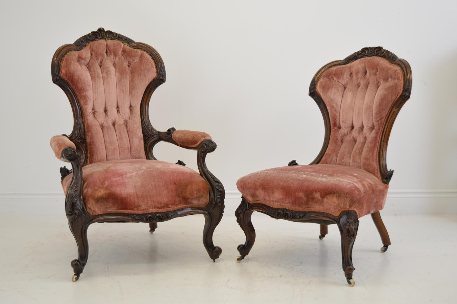 Pair of quality carved mahogany cabriole leg chairs. 70W 106H