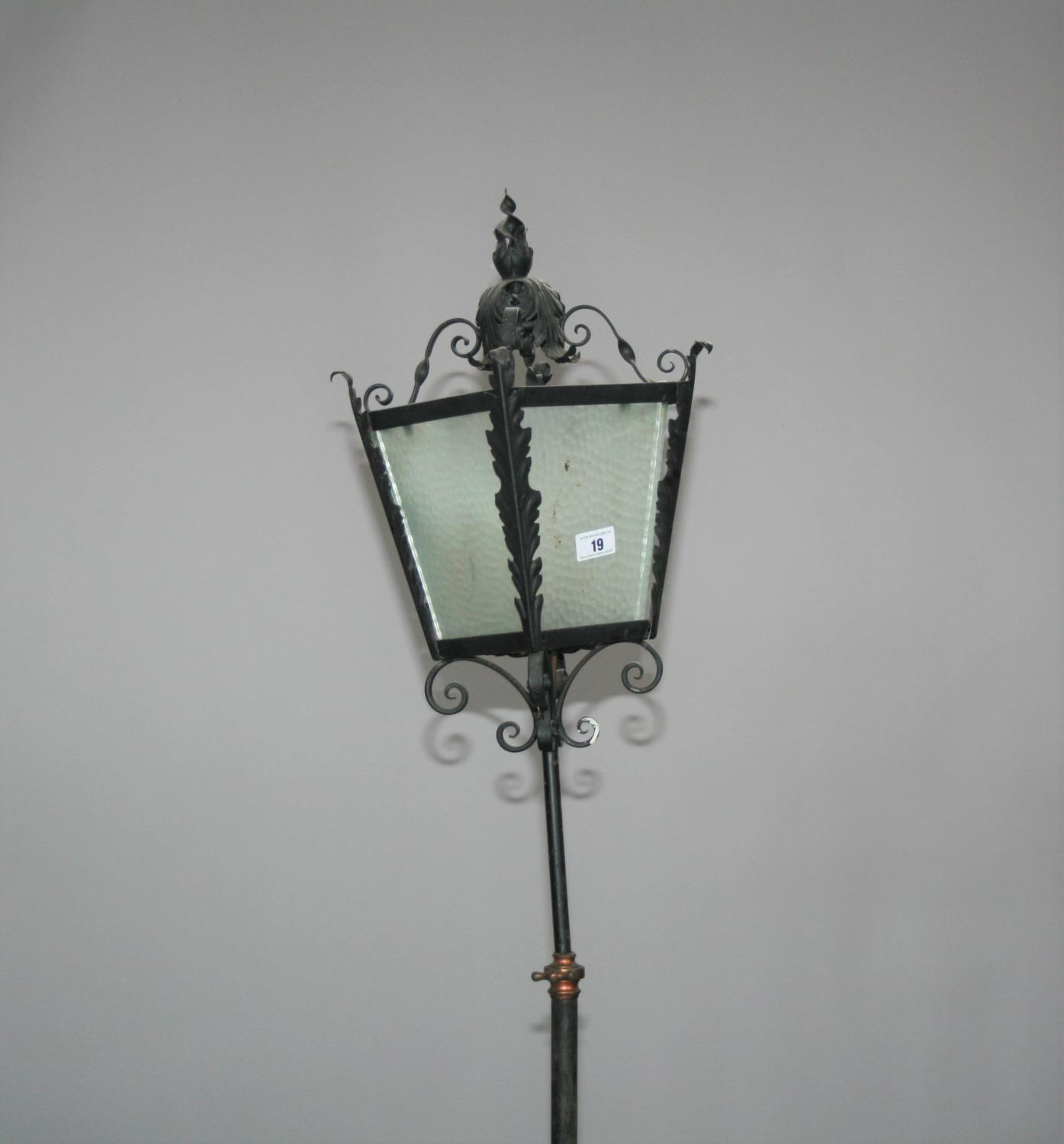 Wrought iron and copper telescopic lamp with lantern top 40 W x 90 H - Image 3 of 3