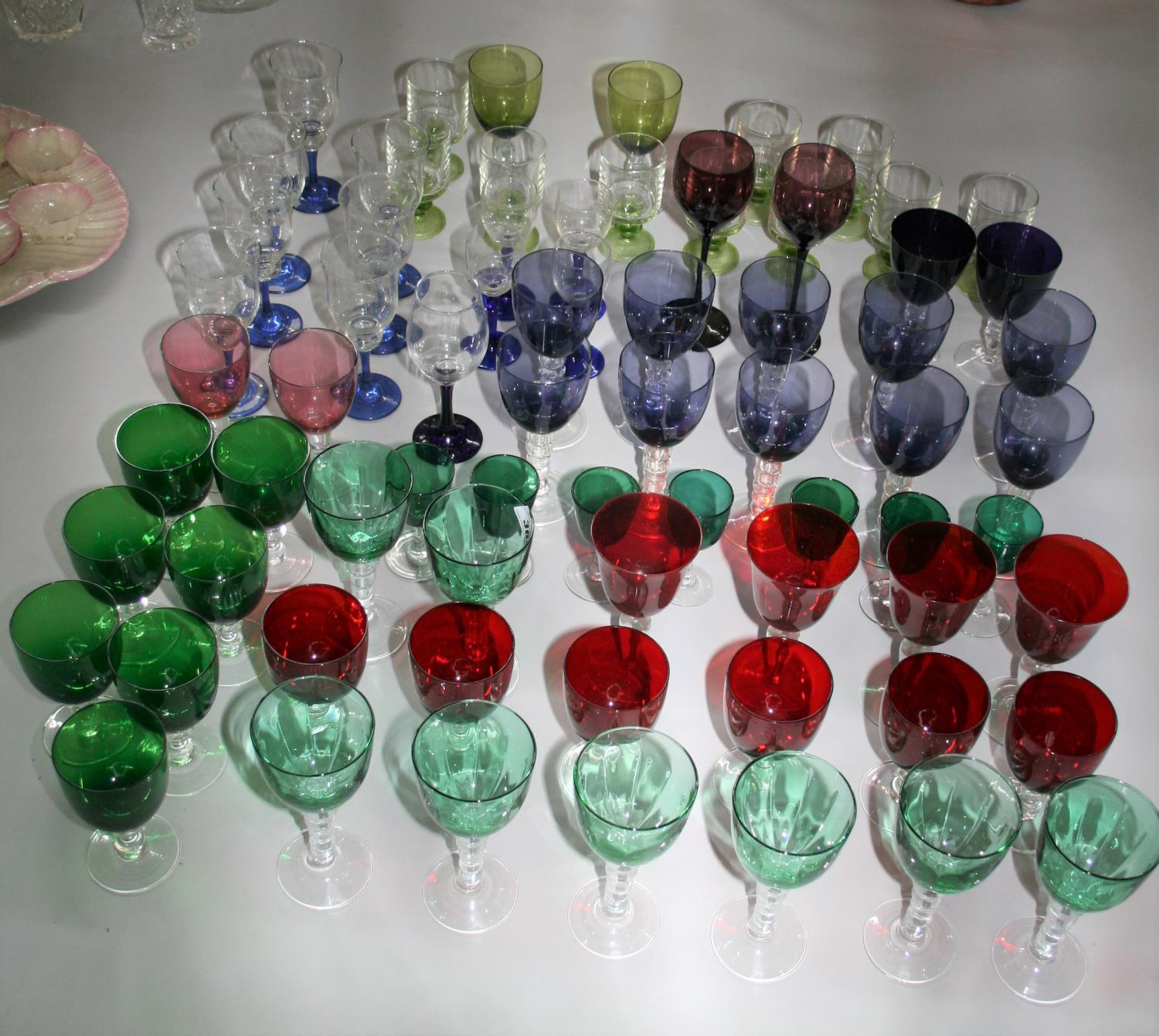 Very fine selection of coloured wine glasses.