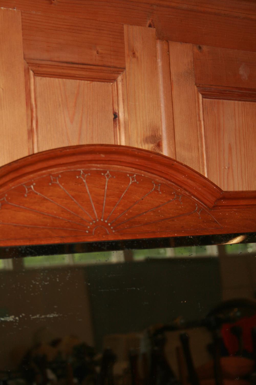 Edwardian oak dressing table with original brass handles standing on ceramic castors. 104 x 162H x - Image 3 of 3