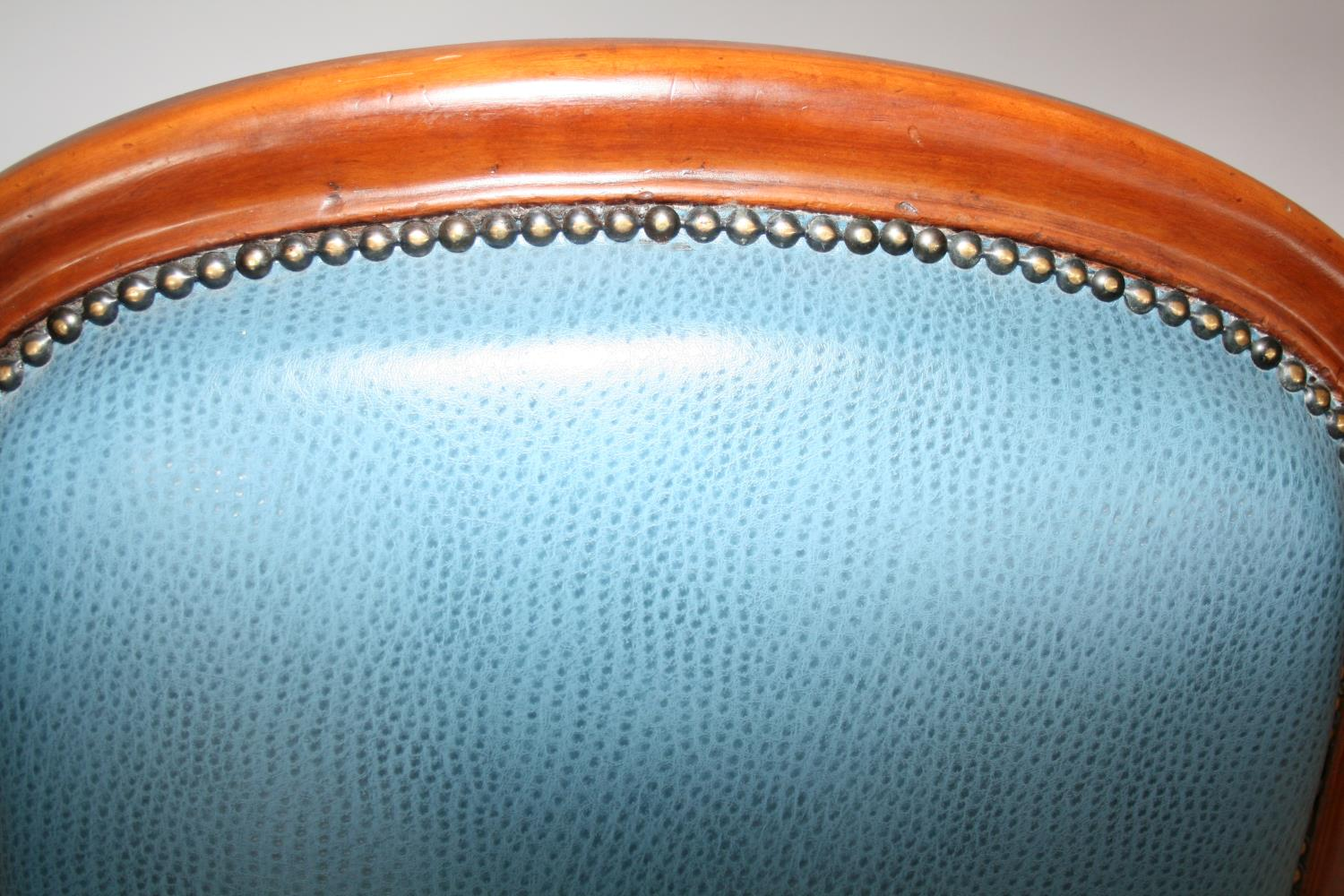 Near pair of Edwardian mahogany armchairs, with speckled hide upholstery. - Image 3 of 3