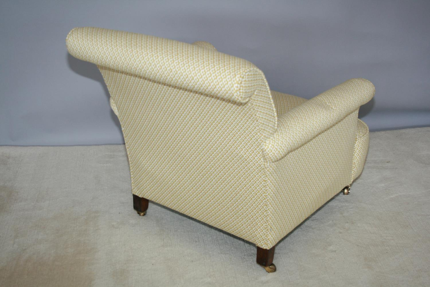 Edwardian upholstered occasional armchair on brass casters 75 W x 80 H x 90 D - Image 3 of 3