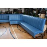Very fine quality curved end free standing leather upholstered seating (upholstered on the back)