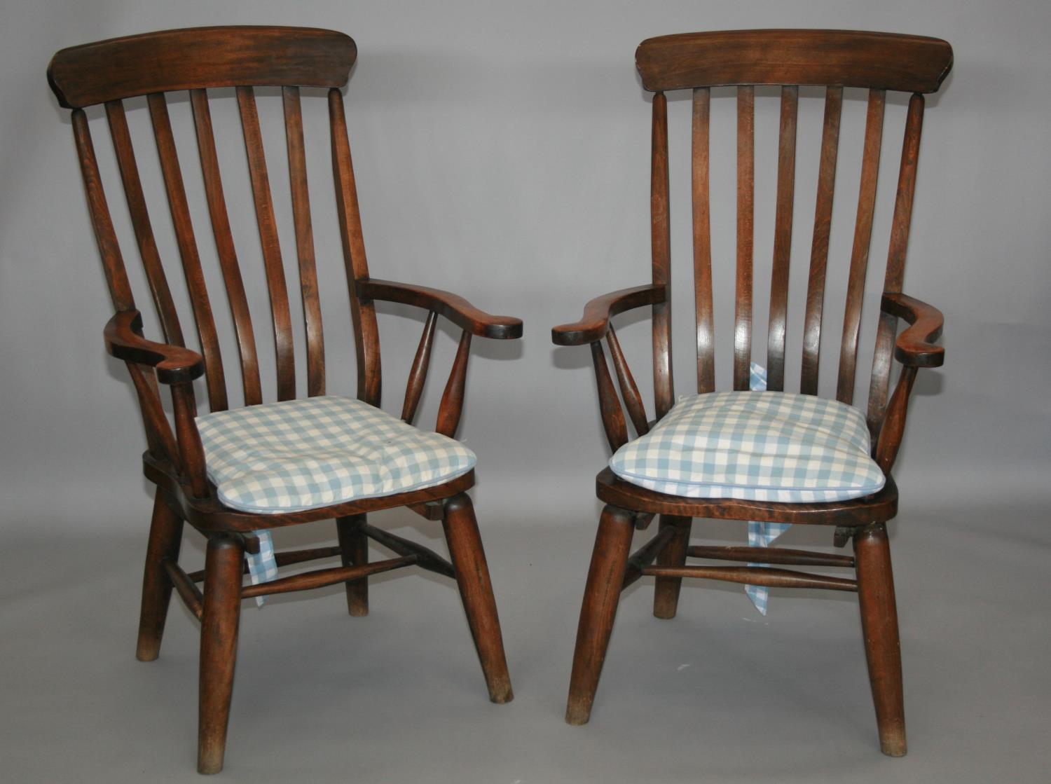 Pair of high back fork design kitchen chairs 65 W x 115 H x 60 D