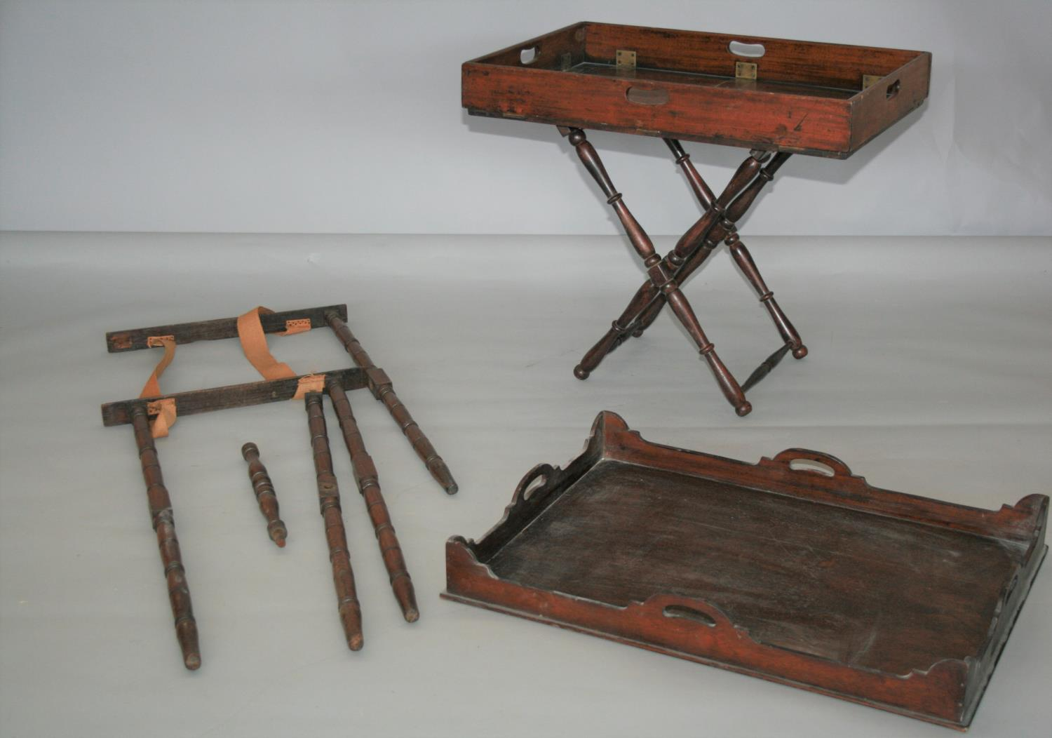 Large collection of 19th Century butler trays and stands. (as seen)