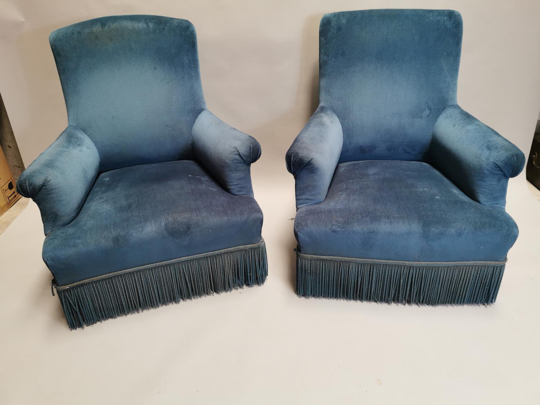 Pair of 19th C. mahogany arm chairs upholstered in blue crush velvet 94 cm H x 80 cm W x 80 cm D