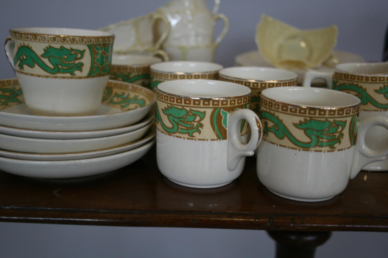 Part Belleek tea set, 2 other part tea sets, Royal Doulton balloon seller. - Image 3 of 4