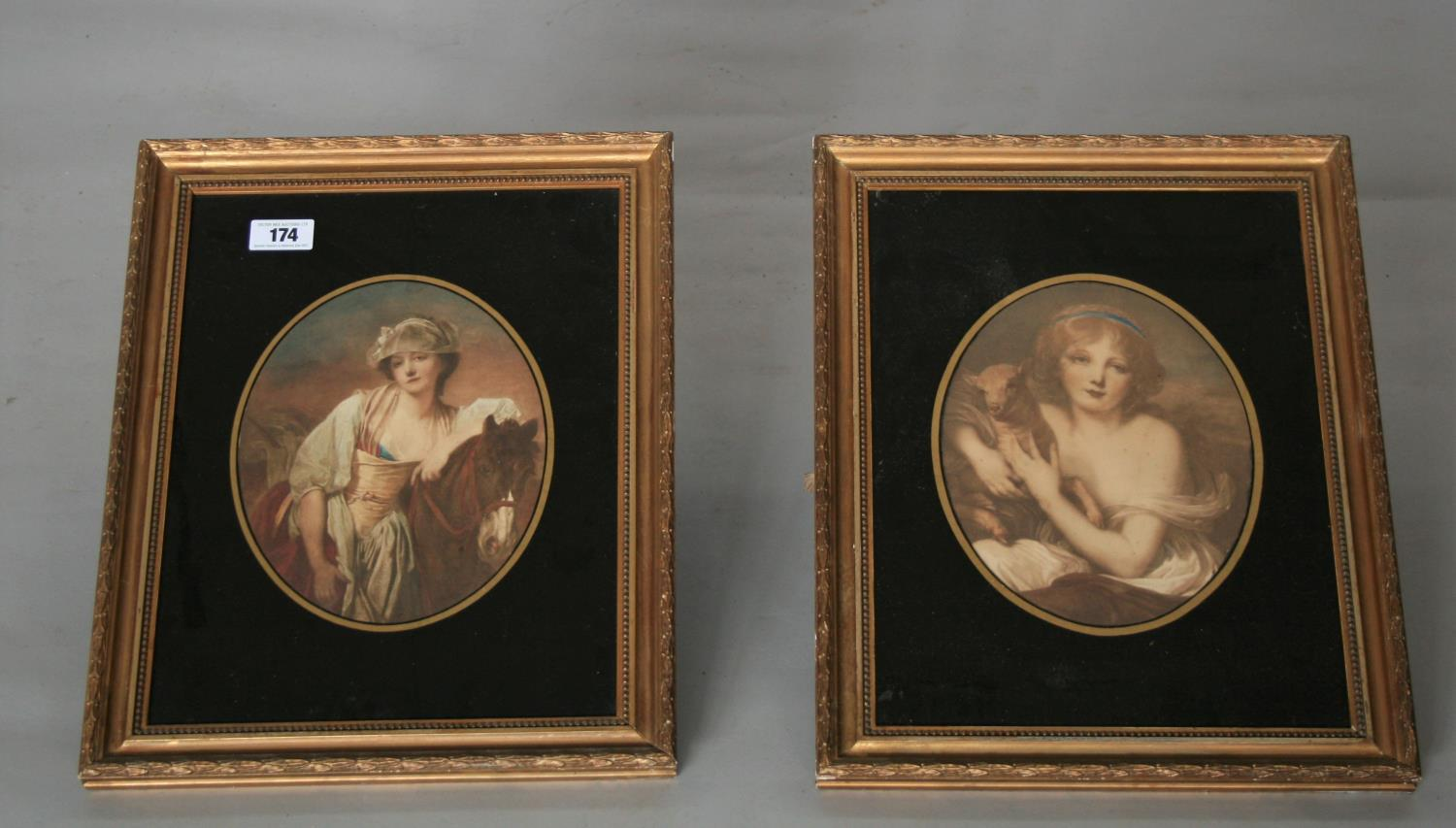 Pair of Edwardian gilt framed prints mounted in black glass. 40W x 50H
