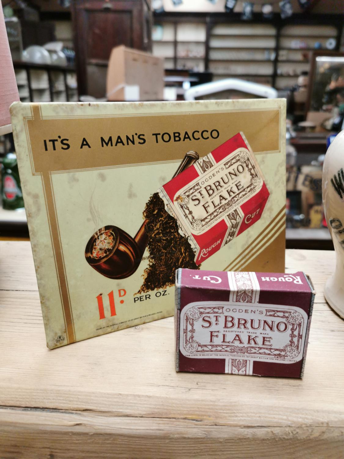 St. Bruno Flake advertising sign and display box.