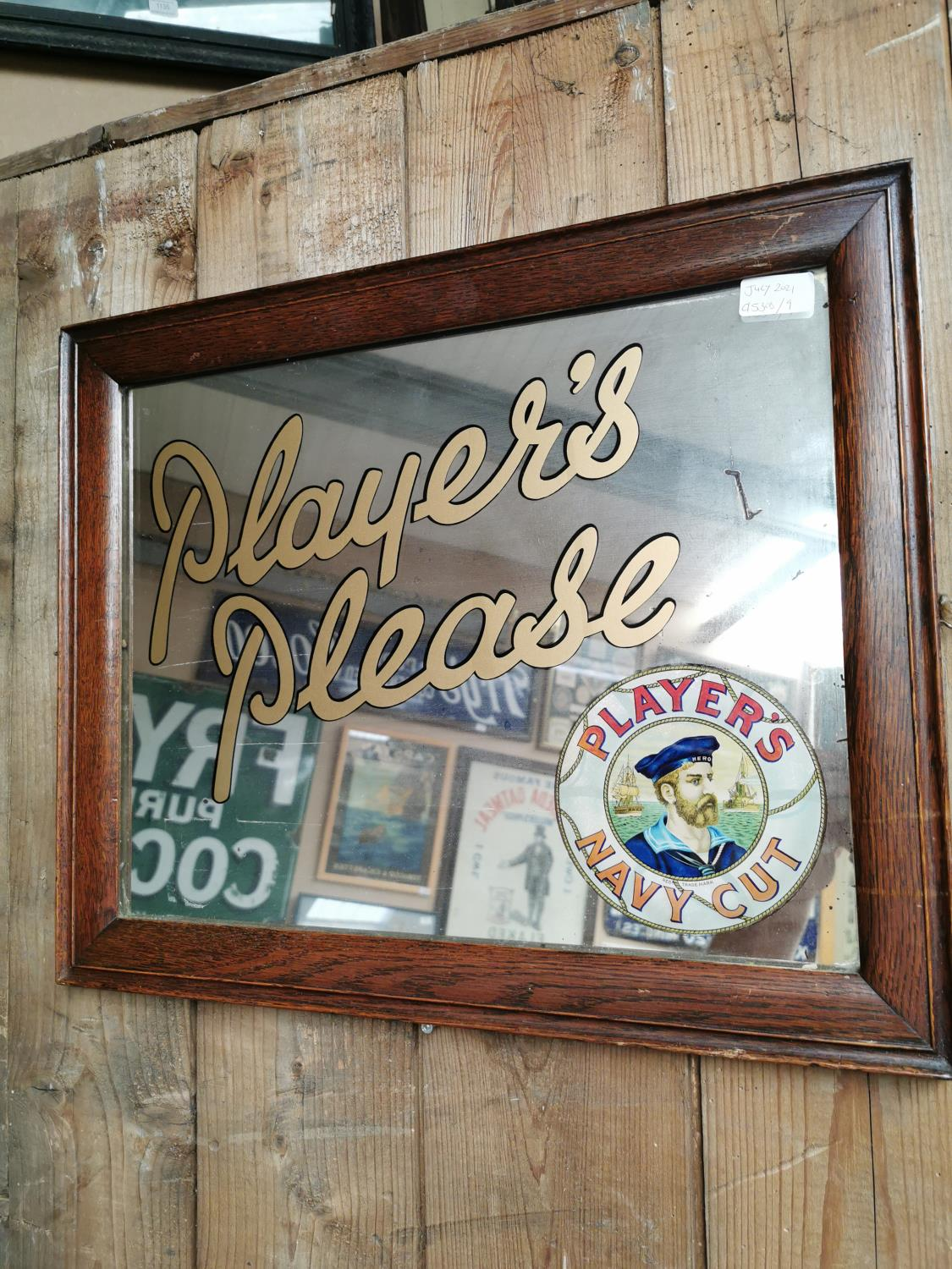 Players Please Navy Cut advertising mirror.