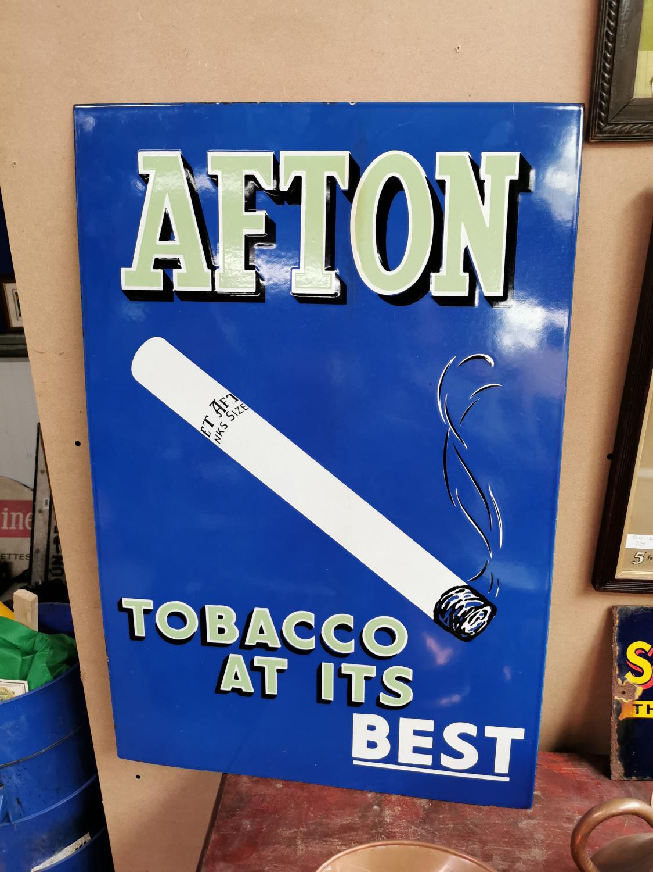 Afton Tobacco enamel advertising sign.
