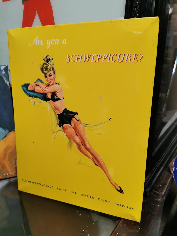 Schweppes advertising showcard.