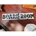 Board Room enamel door plate.