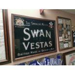 Swan Vestas glass advertising sign.