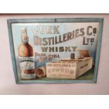 Cork Distillers Irish Whiskey advertising sign.