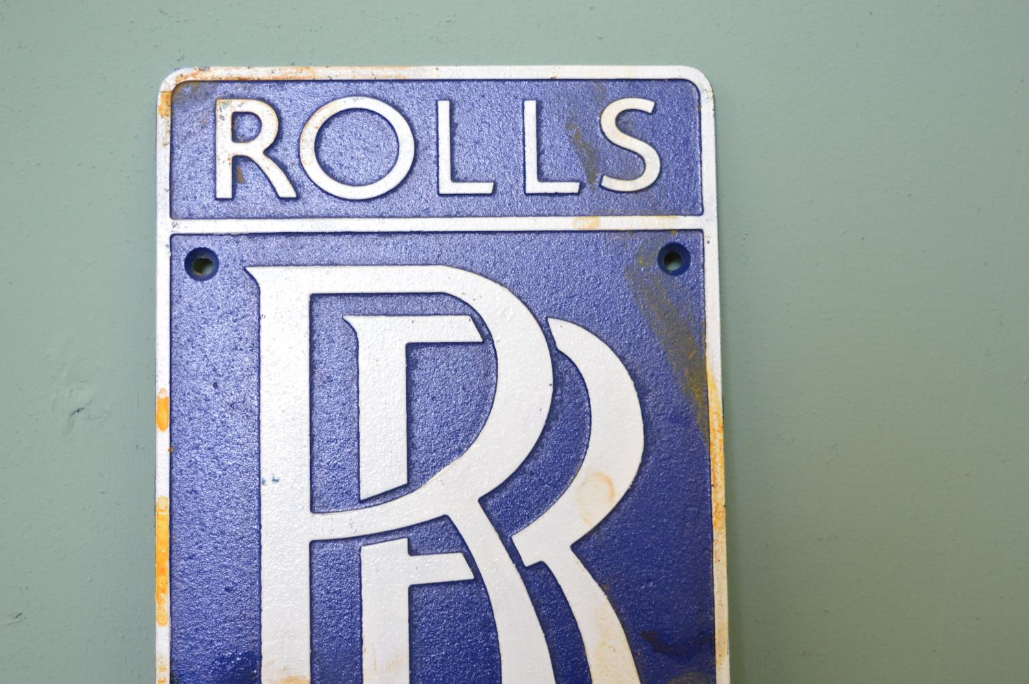 Rolls Royce cast iron advertising sign. - Image 2 of 2