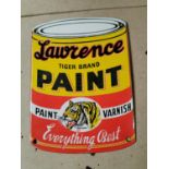Lawrence Tiger Paint advertising sign.