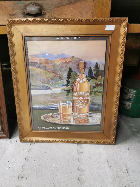 Powers whiskey framed advertising print.