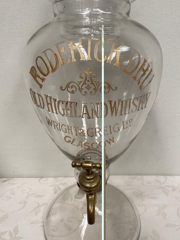 Vintage Roderick Dhu Old Highland Whisky Wright & Greig Ltd Glasgow glass dispenser with tap. { 77cm - Image 2 of 3