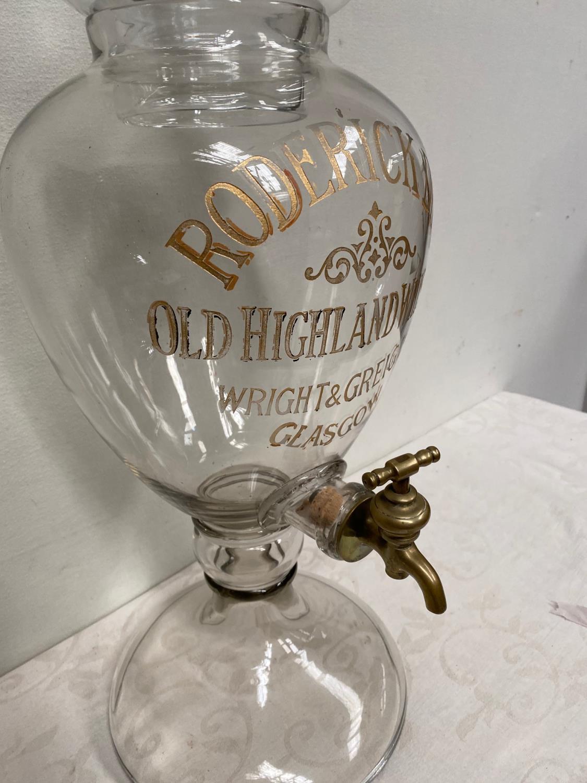 Vintage Roderick Dhu Old Highland Whisky Wright & Greig Ltd Glasgow glass dispenser with tap. { 77cm - Image 3 of 3