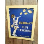 Jacob's Puff Cracknels advertising showcard.