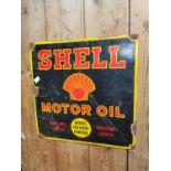 Shell Motor oil enamel advertising sign.