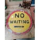 No Waiting advertising road sign.