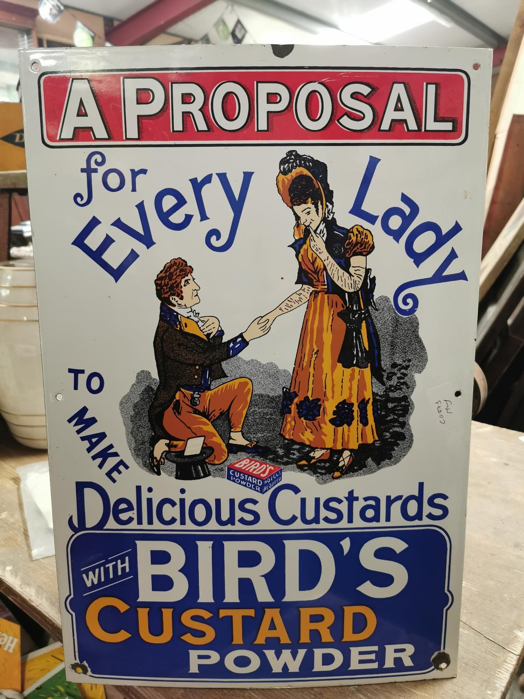 Bird's Custard pictorial enamel advertising sign.